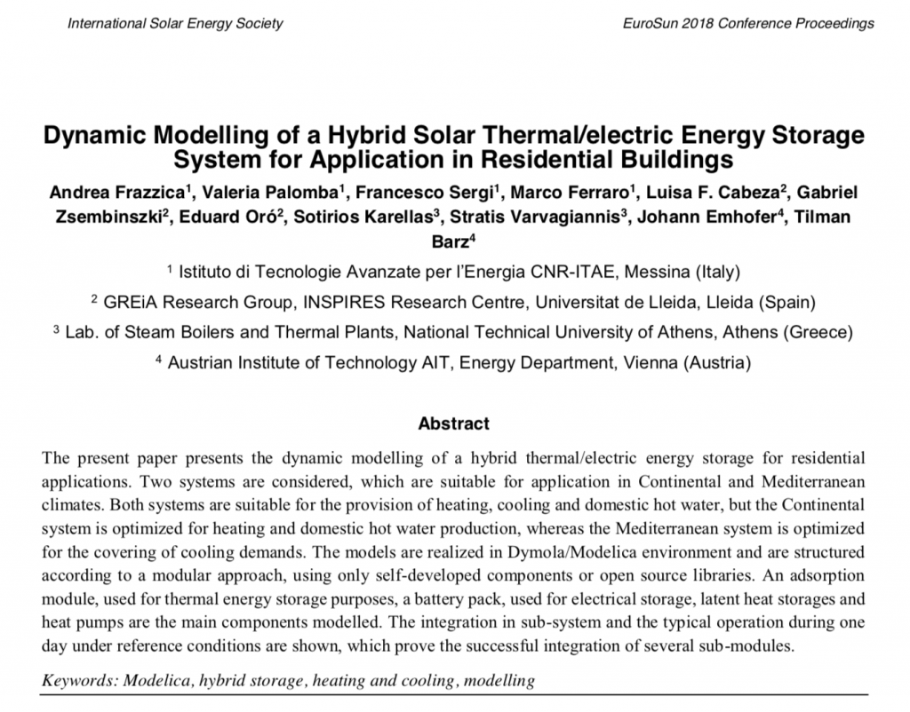 EUROSUN paper : Dynamic Modelling of a Hybrid Solar Thermal/electric Energy Storage System for Application in Residential Buildings